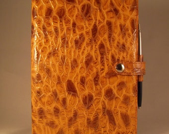 Real Leather Tan/Brown A5 Notebook Cover/Diary Cover/Journal Cover Complete with Notebook.