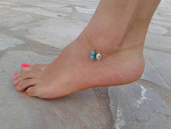 Turquoise Evil Eye Ankle, Gold anklet, 14k Gold Filled, Heart Bead, Beach Jewelry, Dainty Foot Bracelet