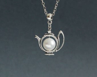 Teapot Necklace White Pearl Teapot Necklace Teapot Pendant Teapot Jewelry Teapot Jewelry Tea Lovers Gift Tea Party Charm Pearl Necklace