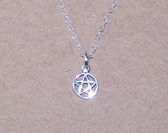 Sterling Silver PENTACLE Pendant and Chain - Delicate, Tiny - Celtic, Pagan, Amulet
