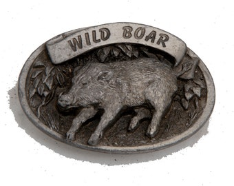 Vintage wild boar belt buckle heavy piece