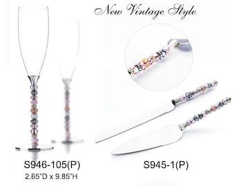 Wedding Toasting Flutes Champagne Knife and Wedding Cake Server Set Beaded Personalized Engraved