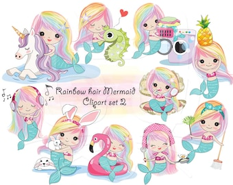 Rainbow hair Mermaid Clip art set 2 , instant download PNG file - 300 dpi
