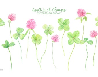 Watercolor Clipart Good Luck Clovers - 4 leaf clovers, 3 leaf clovers, pink clover flowers for instant download