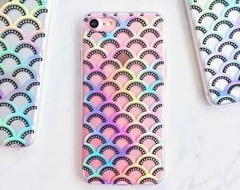 Holographic Holo Mermaid Scales Soft Silicone iPhone Case - iPhone 6, 6s, 6 Plus, 6s Plus, 7, 7 Plus, 8, 8 Plus, X