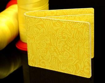 Women yellow wallet, Yellow leather wallet, Lemon yellow wallet,yellow tropical wallet,yellow flower wallet,Yellow bifold wallet,desert rose