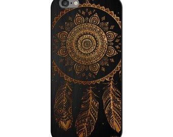 Black Bamboo Wood Case - Ojibwe Dreamcatcher