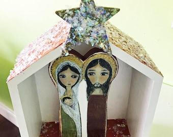 Sacré famille Nativité - bloc de bois ensemble - l'Art populaire par FLOR LARIOS