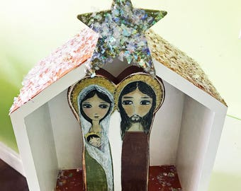 Sacred Family Nativity -  Wood Block  Set  - Folk Art  by FLOR LARIOS