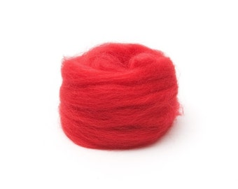 Red Wool Roving for Felting - 1 oz. Corriedale