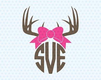 Antlers Svg, Antlers Monogram Svg, Antler, Svg, Deer Antler, Cricut Svg, Svg Silhouette