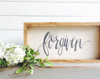 Forgiven | Small Rustic Sign | Home Decor | Mantle Sign | Gallery Wall
