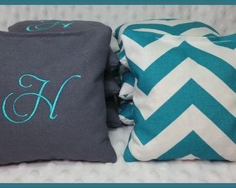 Cornhole Bags Monogram Set of 8 Bags Dark Grey and Teal Chevron