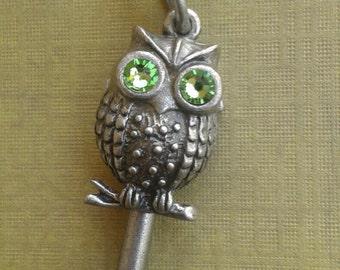 Green Eyed Owl Key Necklace