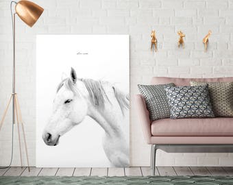 Giclee Print, Giclee horse print, Horse white print, Horse black white print, Horse photo, Horse Print, Animal giclee print, Animal print