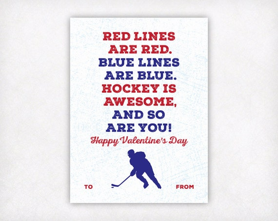 printable kids valentine card printable valentine hockey
