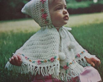 Knitting and Crochet Patterns Baby Sizes 2 - 6 Dawn 003 Cardigan Sweaters Shrug Cape Carriage Cover Vintage Paper Original NOT a PDF