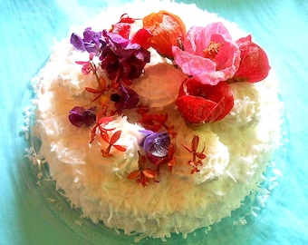 ORGANIC FLOWER, Cake TOPPER Set, Pink, Orange. Purple,  Real Flowers, Sugared,Hibiscus Party, Edible, Mini Orchids, Bean Flowers, on Ice