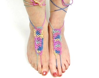 Multicolored Crocheted Barefoot Sandals, Boho Sandals, Earthing Footwear, Grounding Footwear, Yoga Sandals, Beach Sandals