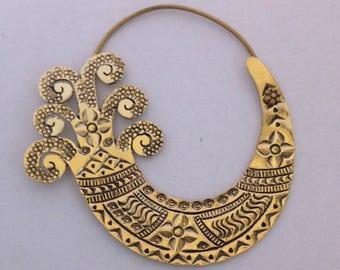 Brass Triple Fish Tail Tribal Earrings - Boho, Ethnic,Tribal, Gypsy,Funky EB31