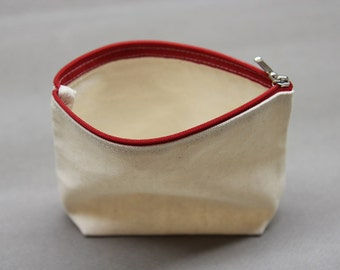 100% Cotton Cosmetic Pouch Bag / Heavy duty cotton canvas fabric
