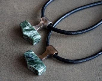 Norse Viking Jewelry Thor Hammer Necklace Norse Mythology Seraphinite and Silver or Bronze Mjolnir