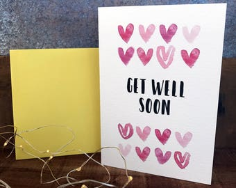get well soon with watercolour hearts, get well card