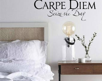 Carpe Diem Seize the Day Inspirational Wall Decal, Vinyl Letters, Multiple Colors