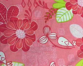 Over the collar reversible dog/cat bandana with pink flowers on one side and lime green polka dot design on other side