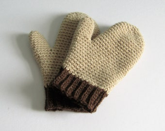 Cream and brown mittens - size adult small - wool and alpaca mix - natural fibers