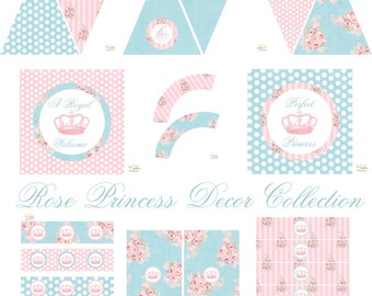 Princess Party Decorations - Huge INSTANT DOWNLOAD Set - Shabby Princess Birthday, Princess Baby Shower, Princess Birthday Decor Printables