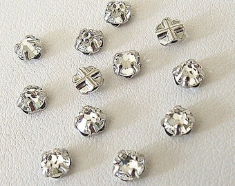 3.9mm Clear Flatback Swarovski Rose Montees, Silver Plated Mounted Rose Montees, Lot of 12 (12 pieces), SS16, Sew On Rhinestones, 2028/2058,
