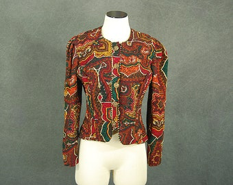 vintage 90s Quilted Jacket - 1990s Paisley Tapestry Jacket Sz S M