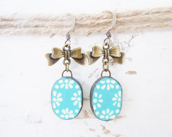 Polymer Clay Colorful Blue Brass Earrings Boho Chic