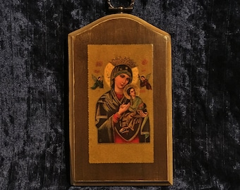 Vintage  Wooden Mary And Baby Jesus  Icon