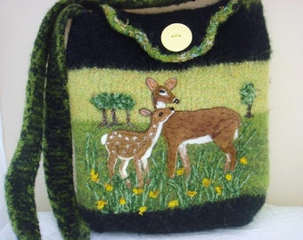 HOLIDAY SALE Felted Tote, Handbag, purse Deer Ones