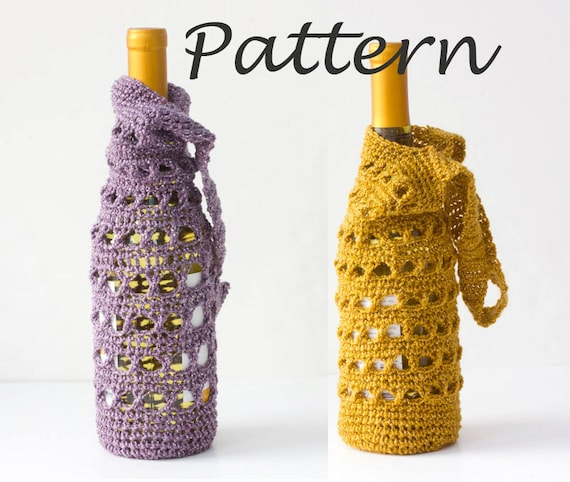 Wine Tote Crochet Pattern Wine Bottle Gift Bag Pdf Crochet Wine