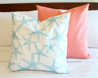 Starfish blue 18 inch pillow cover
