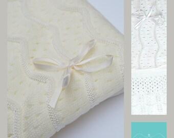 Christening Blanket -  Baptism Blanket - Blessing Blanket - Dediction Blanket -  Take Home Baby  BLanket - Shawl baby White or Ivory