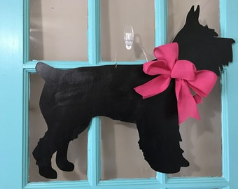 Black Schnauzer Dog Wooden Door Hanger
