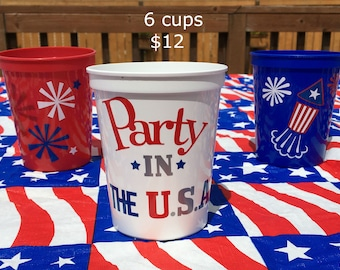 4th Of July Party Supplies, July 4th Party Ideas, 4th Of July Party Favors, 4th July Picnic, Patriotic Decor, Americana Decor, July 4th Cups