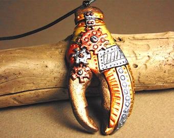 Polymer clay steampunk lobster claw pendant