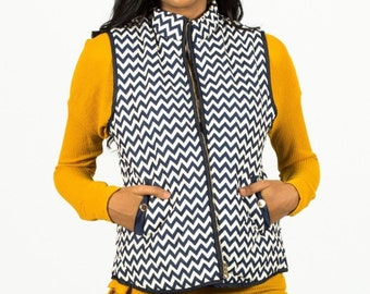 Sleeveless Chevron Padded Vest