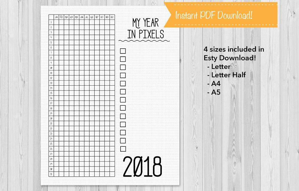 Year In Pixels  Bullet Journal Mood Chart Journal