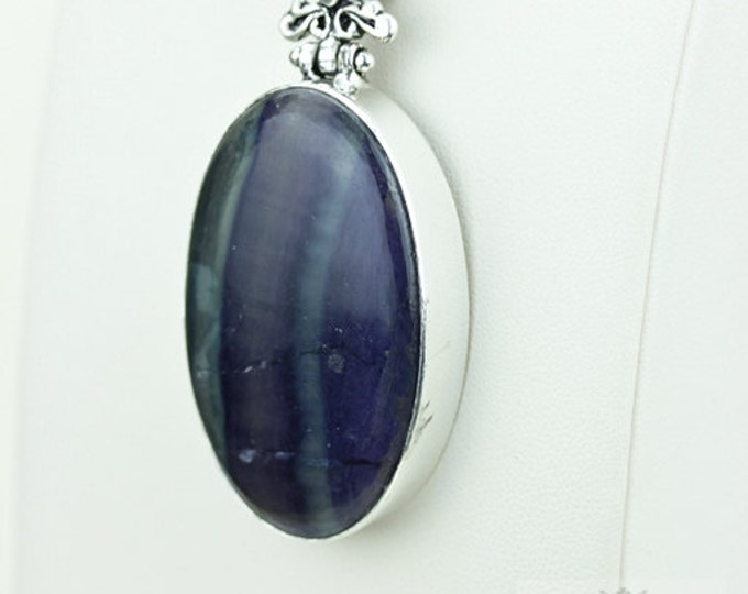 Fluorite 925 S0LID Sterling Silver Pendant + 4MM Snake Chain & Free Worldwide Shipping p3661