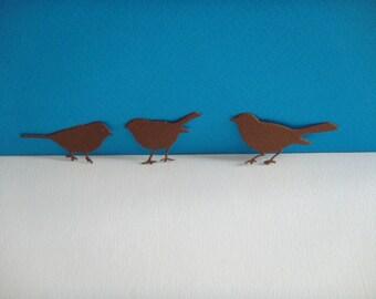 Set of 3 birds in brown paper