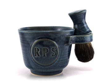 Personalized Shaving Set Black Badger Brush, Soap, Shave Mug with Initials, Pottery Anniversary Husband Gift Custom Made in 6-8 Weeks