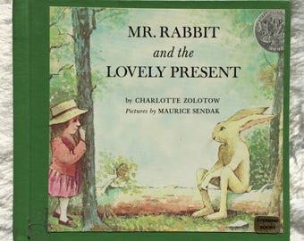 Mr. Rabbit and the Lovely Present||1990 vintage children's book, Charlotte Zolotow, Maurice Sendak, bunny rabbit, childrens picture book