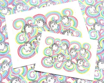 kawaii rainbow unicorn A5 art print, magical unicorn, unicorn, unicorn gift, unicorn print, rainbow print, unicorn decor, unicorn lover gift