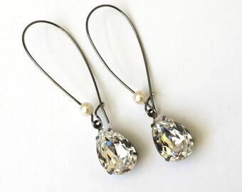 Swarovski Crystal Drop Earrings Clear Crystal Teardrop Earrings Antique Brass Art Deco Earrings Small Prom Crystal Earrings Wedding Jewelry